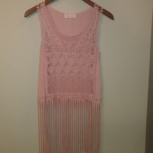 Blush pink tank with fringe size small.